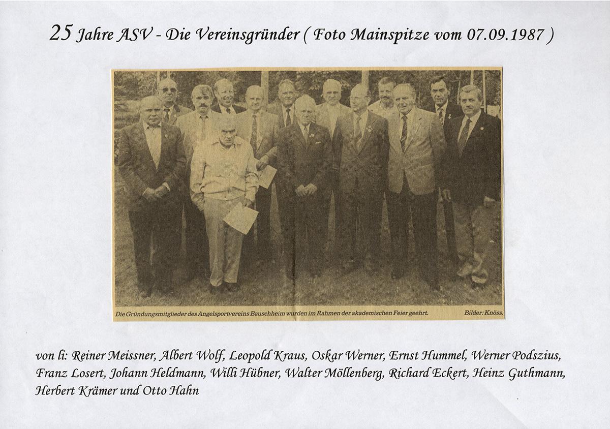 25 Jahre ASV Bauschheim (Gründungsmitglieder)